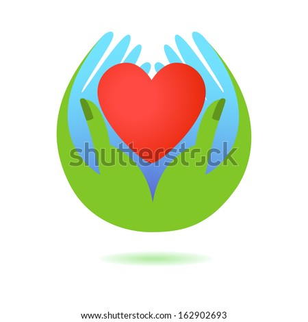 hand holding a heart icon, isolated vector symbol - stock ...