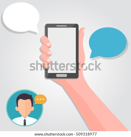 hand holding a smartphone - messaging concept