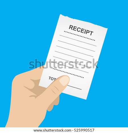 Hand holding blank receipt,isolated on blue background,vector illustration