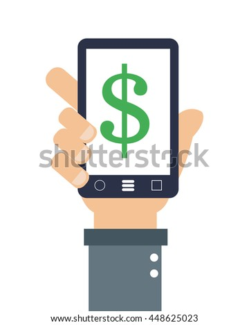 hand holding cellphone with dollar sign on screen icon