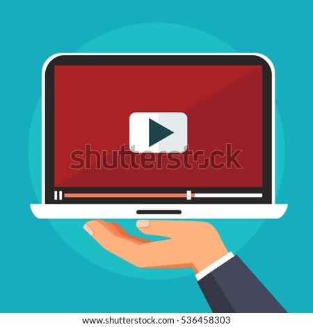 Hand holding laptop with video player. Concept of presentation, advertise, blogging, sharing, streaming, monetization, television, content. Flat style vector illustration
