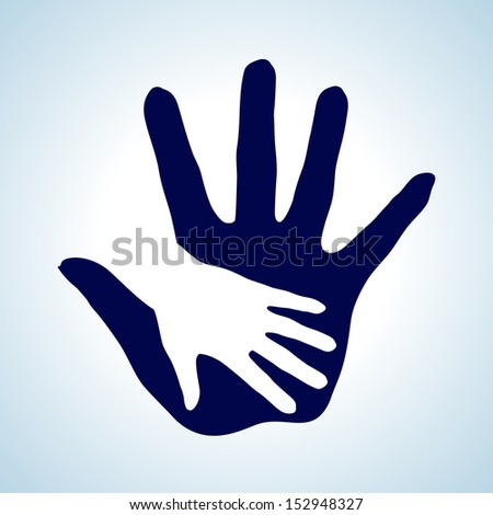 Hand in hand illustration in white and blue. Symbol of help, assistance and cooperation.