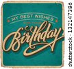 hand-lettered vintage birthday card - with handmade calligraphy, vector (eps10); grunge effects in a separate layer; - stock vector