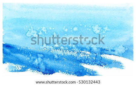Hand painted watercolor winter landscape, abstract snowy background, vector illustration