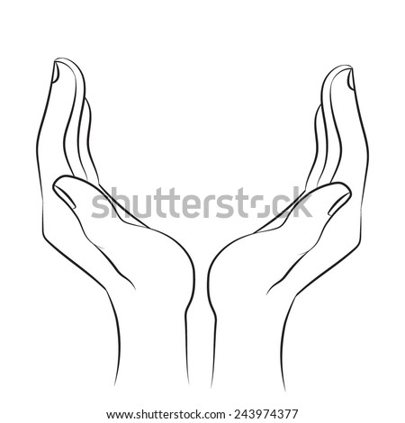 how to draw a hand palm up