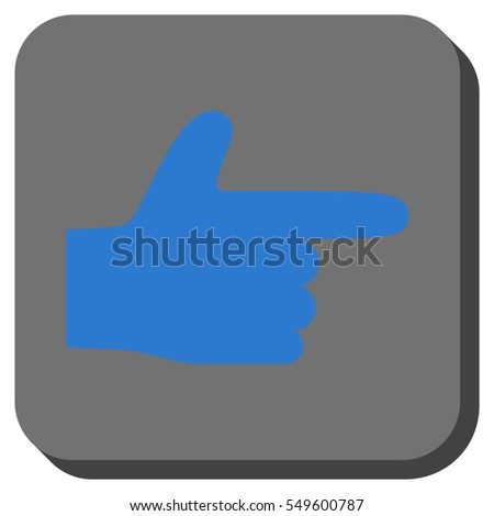 Hand Pointer Right vector icon. Image style is a flat icon symbol on a rounded square button, blue and gray colors.