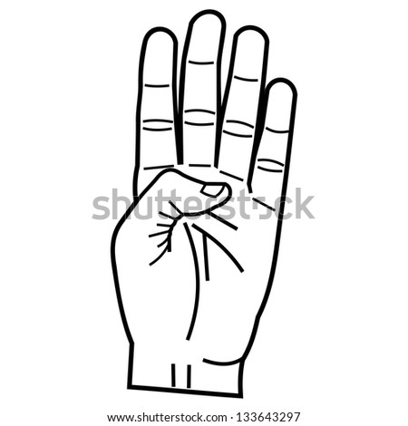 hand pointing four fingers linear style