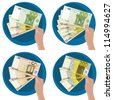 Hand showing five  50, 100 y 200 euro bills - stock photo