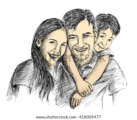 Hand Sketch of happy family Parents and children.