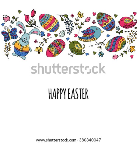 Hand Sketched Happy Easter Set Easter Vector 380839984 – Easter Postcard Template