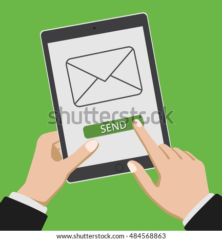 Hand touching smart phone with Email symbol on the screen.   vector.