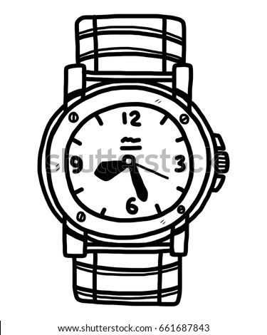Vector sketch classic mens wrist watch stock vector 469735079 shutterstock for Cartoon watches