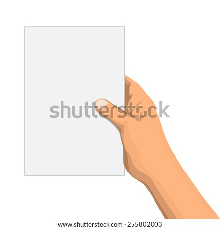 Hand with empty notepad isolated on white, vector illustration