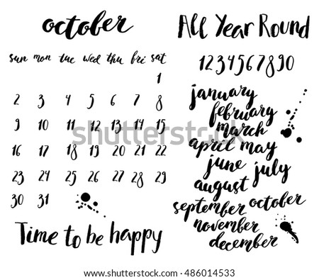 Hand written ink calendar or planner set. Month and week days names, numbers. October layout template.