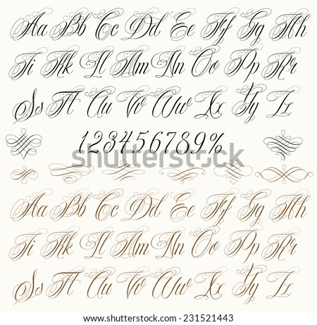 Handmade Vector Calligraphy Tattoo Alphabet Numbers Stock