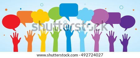 Hands and speech bubble in vector. Concept of communication between people.