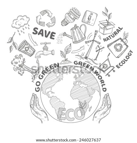 Hands holding and protecting globe environment conservation and ecology concept doodle vector illustration