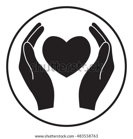 vector icon hands holding heart stock vector 134419535