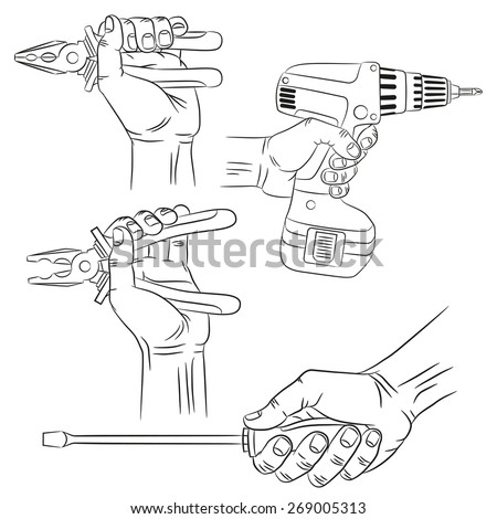 hands with tools pliers screwdriver electric drill outline realistic drawings