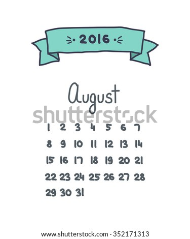 handwritten calendar 2016. August. vector illustration