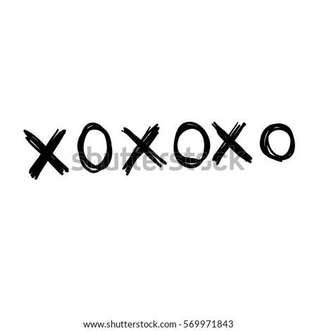 Phrase Xoxo Hugs Kisses Black Brush Stock Vector 551272333 ...