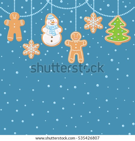 Hanging gingerbread man, tree, snowman and stars cookies isolated on blue color with round sphere beads. Christmas background. Vector illustration.