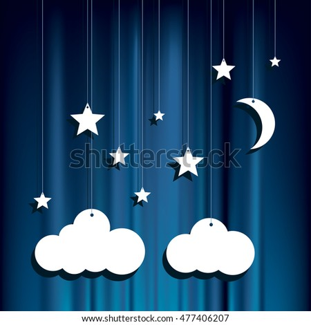 hanging paper stars, clouds and moon over blue velvet background, vector illustration