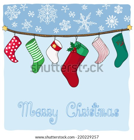 Hanging stockings for Christmas gifts. Hand drawn vector illustration.