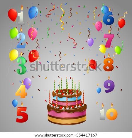 Happy Birthday Cakeand Balloon Stock Vector 554417155 Shutterstock