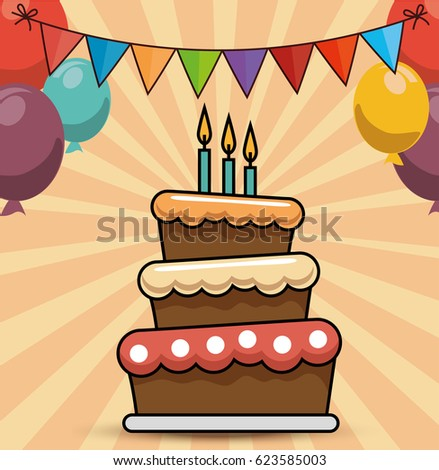 Birthday Cake Balloons Vector Greeting Card Vector 550542934 – Birthday Cakes Cards