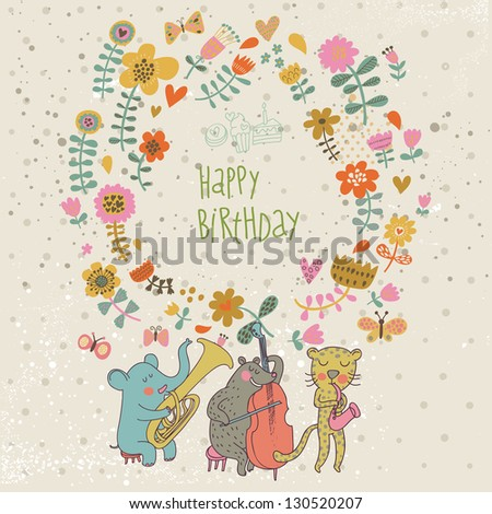 Sweet Happy Birthday Card Vector Lovely Vector 259599935 – Greeting Happy Birthday Cards