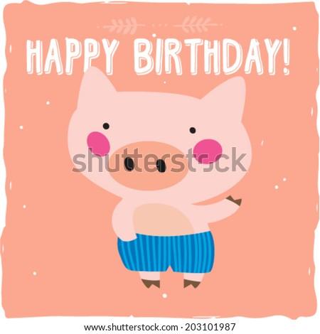 pig piggy dancing happy birthday card stock vector, Birthday card