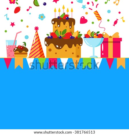 Happy Birthday Template Card Flat Vector Vector 386725396 – Happy Birthday Card for Kids