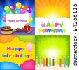 Happy Birthday Card Set, Vector Illustration - stock vector