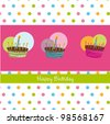 happy birthday card with cakes. vector illustration - stock vector