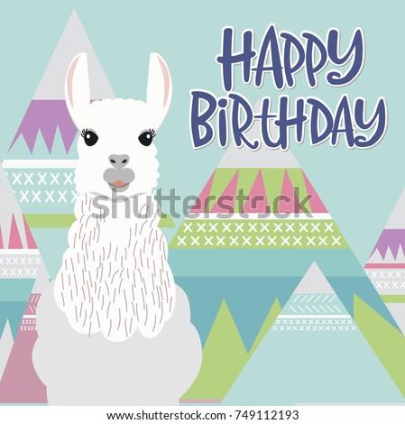Happy Birthday Card Cute Lama Editable Stock Vector 689474329