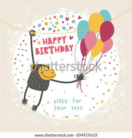 Happy Birthday Card Funny Monkey Balloon Vector 304919633 – Funny Monkey Birthday Cards