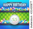 Happy Birthday Design, Age 55 Concept Greeting Card Template - stock photo