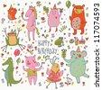 Happy birthday. Funny cartoon vector set with bear, frog, horse, pig, bid, crocodile and elephant - stock photo