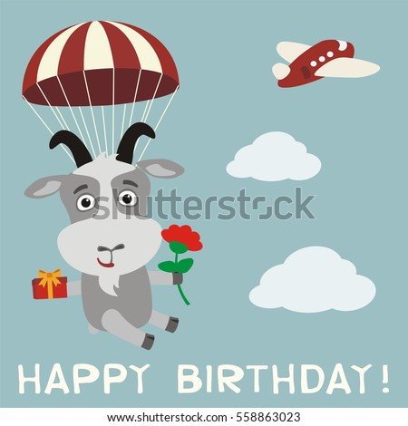 Happy Birthday You Funny Goat Sings Vector 612194171 – Goat Birthday Card