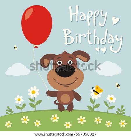 Happy Birthday Funny Hippo Red Balloon Stock Vector 563804221