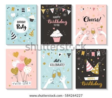 Happy Birthday Greeting Card Party Invitation Vector – Image of Birthday Greeting