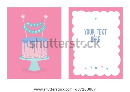 Set Birthday Greeting Cards Decorated Cakes Stock Vector 637280854