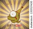 Happy birthday greeting card with funny cartoon snake. - stock vector