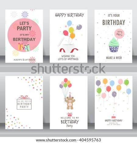 Happy Birthday Holiday Christmas Greeting Invitation Stock Vector ...