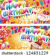 Happy birthday horizontal cards - stock vector