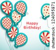Happy birthday retro postcard with balloons. Vector illustration for your holiday presentation. Easy to use. Postcard picture in vintage color. - stock vector