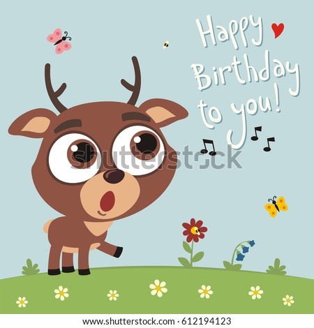 Happy Birthday You Funny Giraffe Sings Vector 584409568 – Happy Birthday Cards with Songs