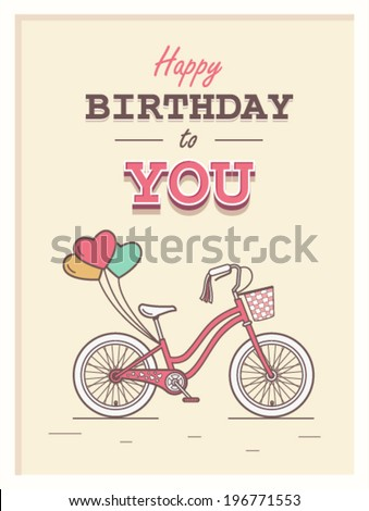 Happy birthday to you hipster postcard with child bicycle on background and retro lettering