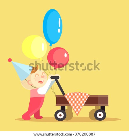 Happy Birthday. Vector flat illustration